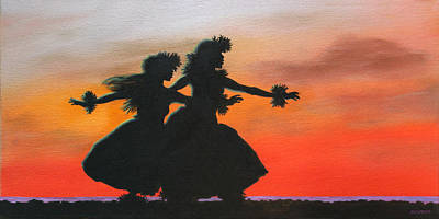 Dancers At Sunset Art Print by Wahine Art