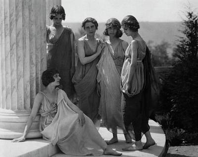Isadora Duncan Photograph - Dancers By A Column by Arnold Genthe