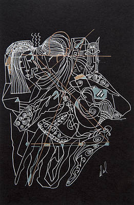 Abstract Forms Drawing - Dancers by Dennis Davis