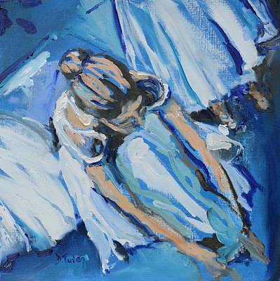 Tying Shoe Painting - Dancers In Blue by Donna Tuten