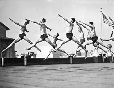Shawn Photograph - Dancers Practice On A Rooftop. by Underwood Archives
