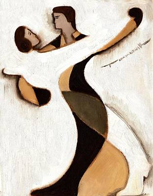 Ballroom Dancing Painting - Tommervik Abstract Dancers  Art Print by Tommervik