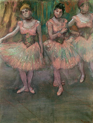 Dancers Wearing Salmon Colored Skirts Print by Edgar Degas