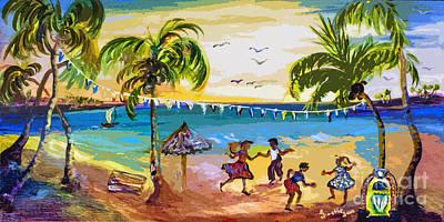 Dancin Shaggin At The Beach Art Print