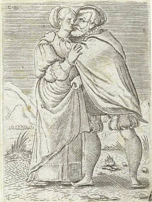 Great Outdoors Drawing - Dancing Couple Kissing Each Other, Print Maker Cornelis Bos by Cornelis Bos