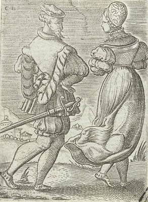 Great Outdoors Drawing - Dancing Couple, Seen From The Back, Cornelis Bos by Cornelis Bos And Anonymous