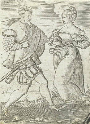 Great Outdoors Drawing - Dancing Couple, The Woman With Hands On Her Hips by Cornelis Bos And Anonymous