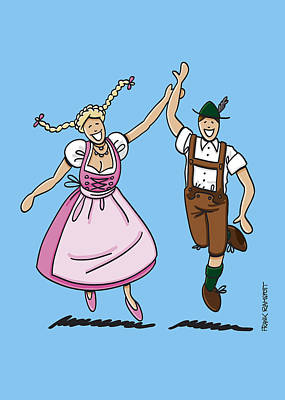 Woman Drawing - Dancing Couple With Dirndl And Lederhosen by Frank Ramspott