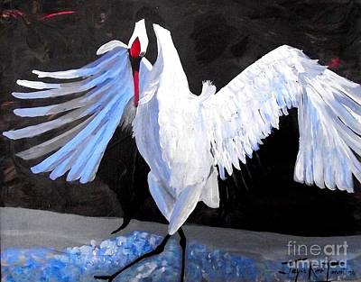 Painting - Dancing Crane by Jayne Kerr