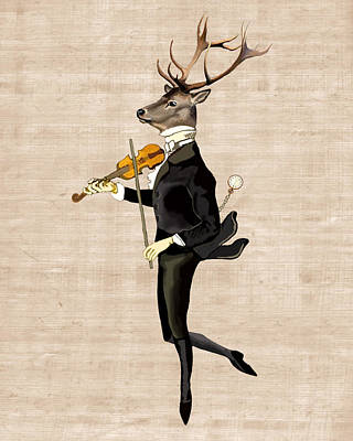 Dancing Deer With Violin Print by Loopylolly