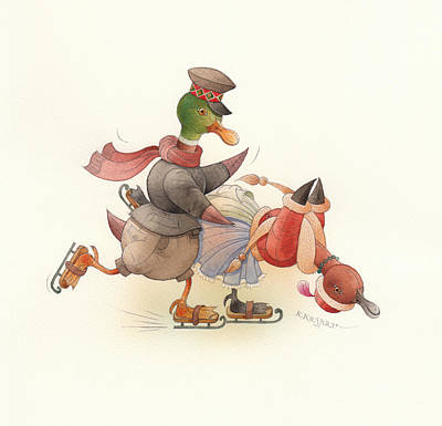 Dancing Ducks 03 Original by Kestutis Kasparavicius