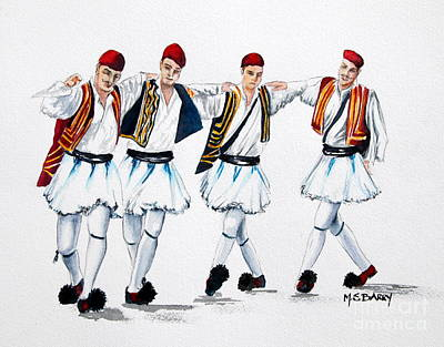 Hellas Painting - Dancing Evzones by Maria Barry