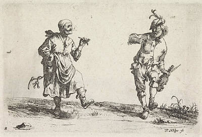 Farm Scene Drawing - Dancing Farmer And Rancher, Pieter Nolpe by Pieter Nolpe And Pieter Jansz. Quast