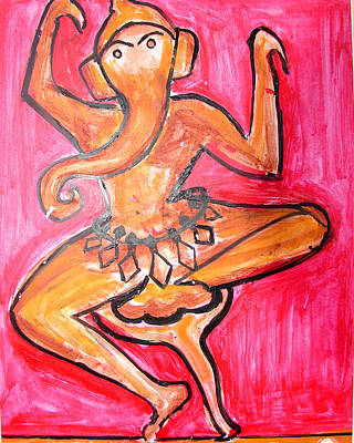 Painting - Dancing Ganesha-a3 by Anand Swaroop Manchiraju