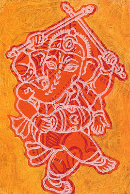 Dancing Ganesha Orange Art Print