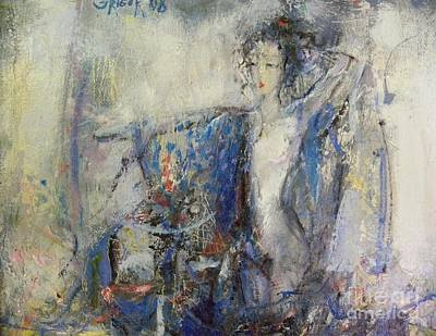 Blue Painting - Dancing Geisha by Grigor Malinov