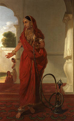 Dancing Girl An Indian Dancing Girl With A Hookah Signed Print by Litz Collection