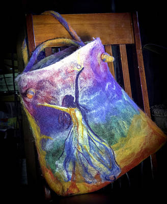 Mixed Media - Dancing Goddess Needle Felted Bag by Shelley Bain