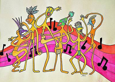 Drawing - Dancing Happy People by Glenn Calloway