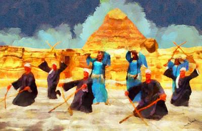 Arabian Painting - Dancing In Pyramids by George Rossidis