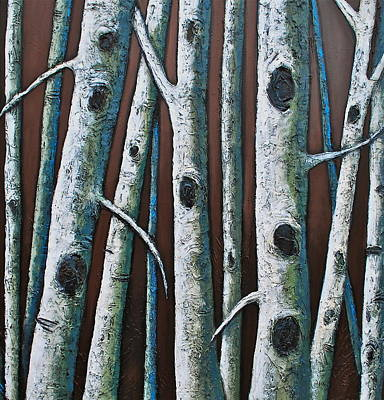 Grouping Mixed Media - Dancing In The Moonlight Birches by Lori McPhee