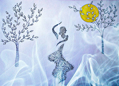 Mixed Media - Dancing In The Moonlight by Jo Ann