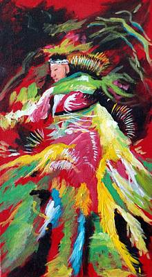 Indian Tribal Art Painting - Dancing Indian by Judy Hopkins