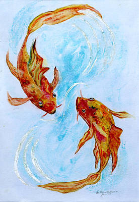 Painting - Dancing Koi Sold by Antonia Citrino