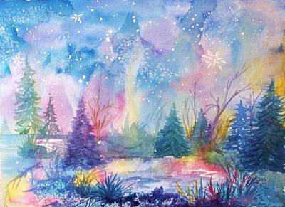 Visionary Art Painting - Dancing Lights by Ellen Levinson