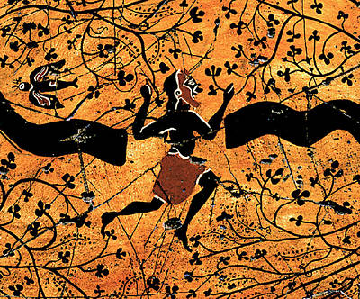 Greek Vase Painting - Dancing Man - Study No. 1 by Steve Bogdanoff