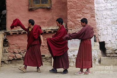 Photograph - Dancing Monks - Drigung Monastery Tibet by Craig Lovell