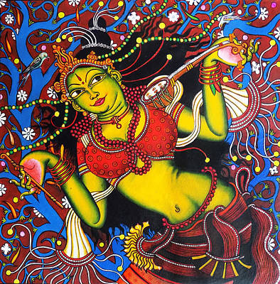 Veena Painting - Dancing Mural Art by Arun Sivaprasad