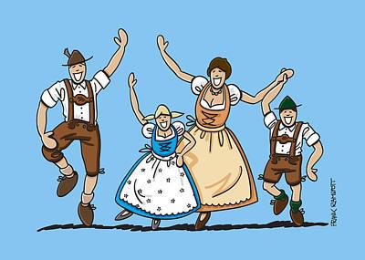 Oktoberfest Drawing - Dancing Oktoberfest Family by Frank Ramspott