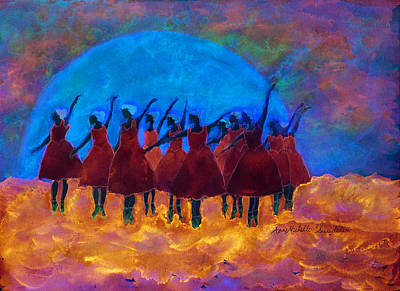 Dancing On Fire In The Moon Light Art Print