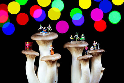 Dancing On Mushroom Under Starry Night Art Print