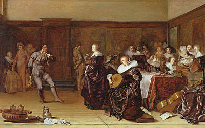 Lute Photograph - Dancing Party, 17th Century by Pieter Codde