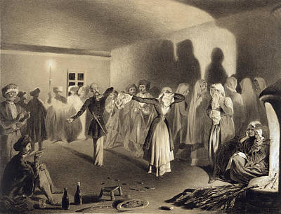 Candle Lit Drawing - Dancing Party At Kagha-choura by Grigori Grigorevich Gagarin