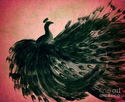 Digital Art - Dancing Peacock Pink by Anita Lewis