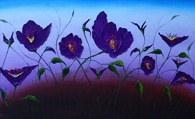 Dancing Purple Poppies 1 Art Print by Portland Art Creations
