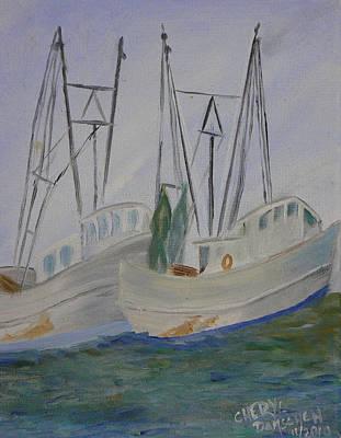 Painting - Dancing Shrimp Boats by Cheryl Damschen