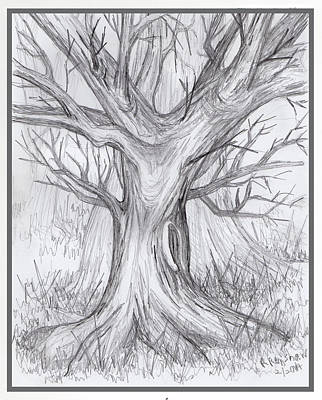Drawing - Dancing Tree In Winter by Ruth Renshaw