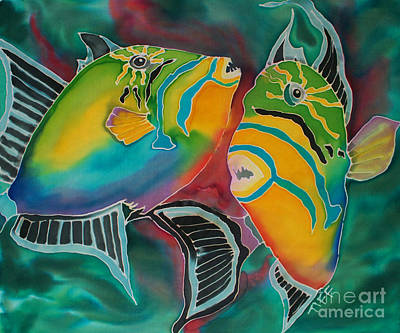 Triggerfish Painting - Dancing Triggers by TIFF Barrett