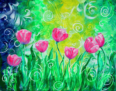 Dancing Tulips Art Print