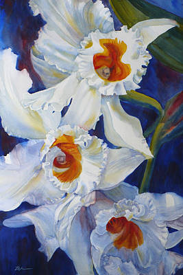 Painting - Dancing White Orchids by Janet Zeh