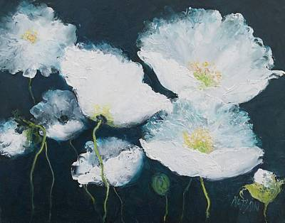 Print Of Poppy Painting - Dancing White Poppies by Jan Matson
