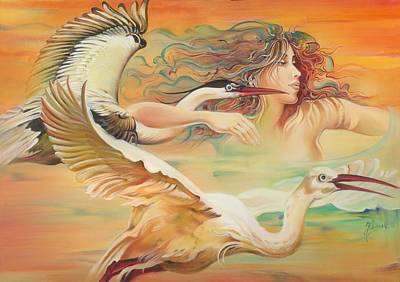 Dancing With Birds Art Print