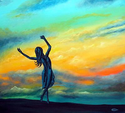 Jesus With Girl Painting - Dancing With Jesus by Deda Happel