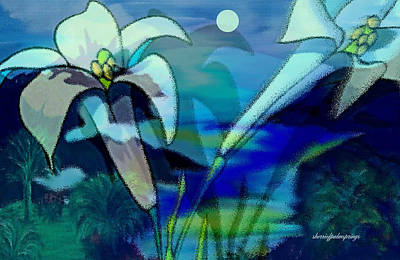 Acylic Painting - Dancing With The Moon by Sherri's Of Palm Springs