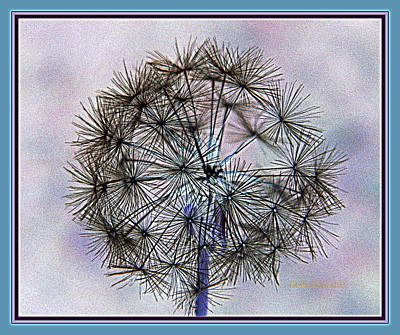 Art Print featuring the photograph Dandelion Blue And Purple by Kathy Barney