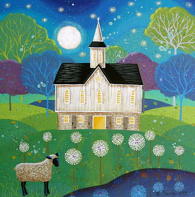 Folk Art Painting - Dandelion Dream by Mary Charles